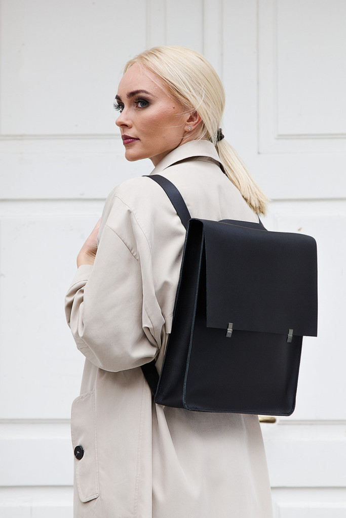 1 Leather backpack-handbag