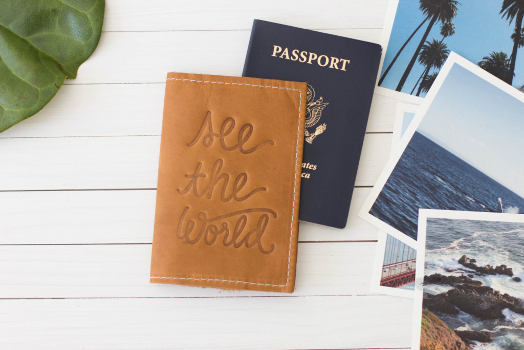 1 Personalized Embossed See The World Leather Passport Cover
