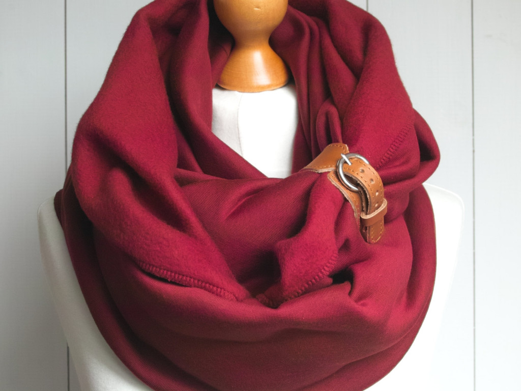 2 Infinity Scarf with leather cuff