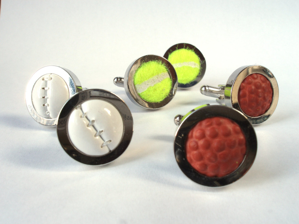 3 Real Sports Ball Cufflinks