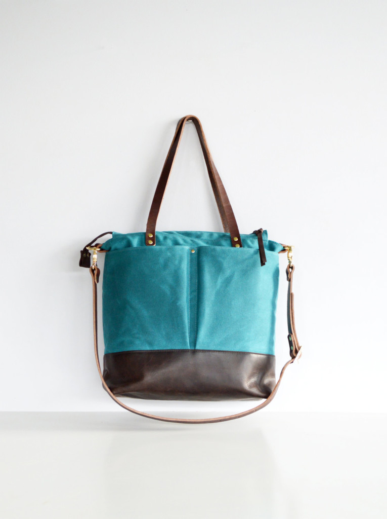 3 Teal green waxed canvas and leather diaper bag