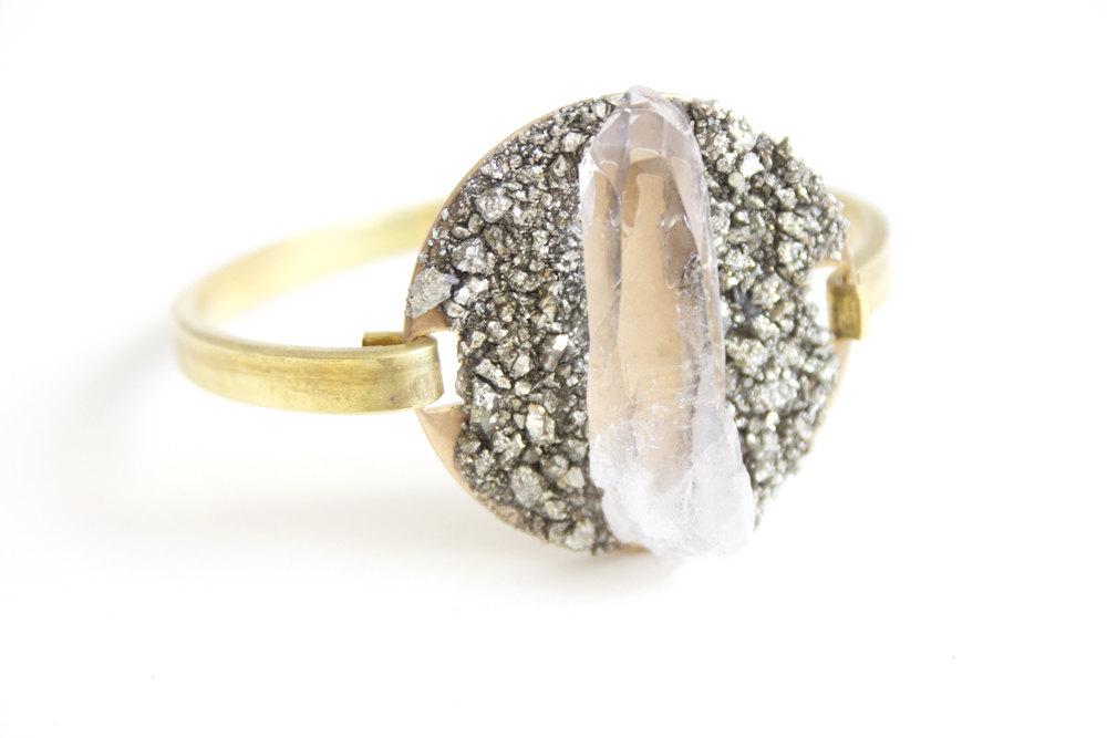 1 Raw Crystal Cuff Bracelet with Pyrite Dust