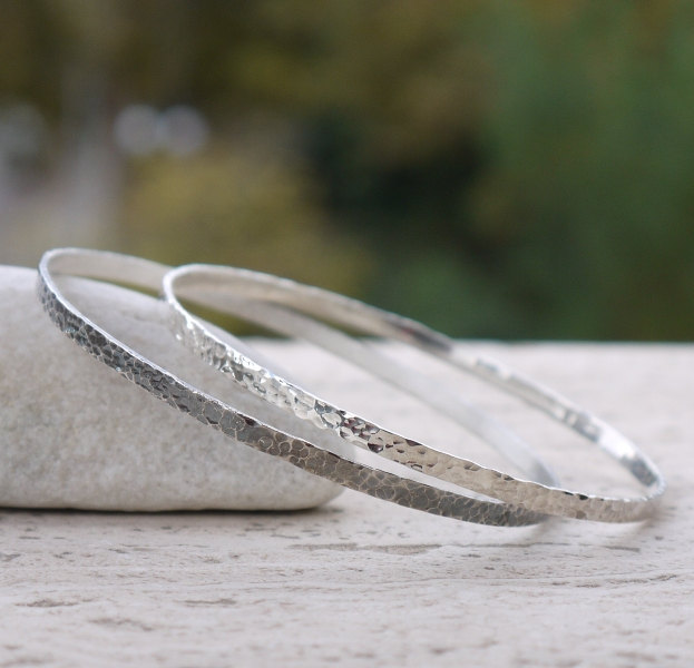 3 Hammered silver bangles