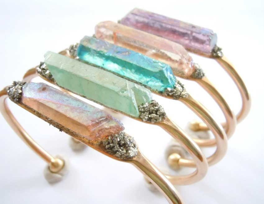 5 Raw Crystal Cuff Bracelet