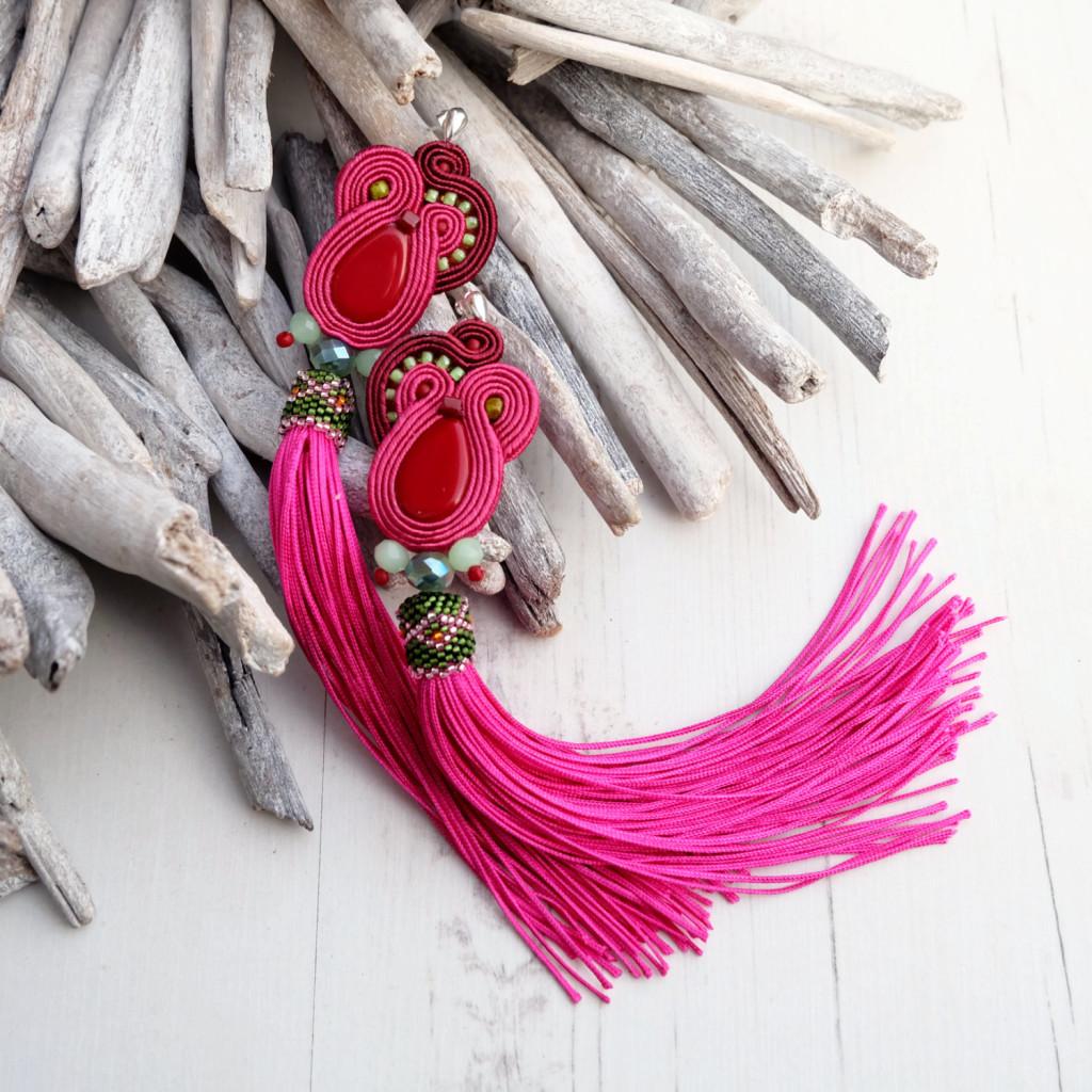 5 Long Fuchsia Pink Soutache Earrings