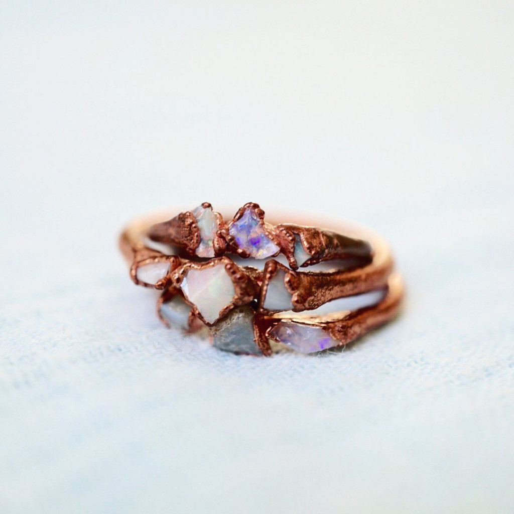 5 Opal Copper Ring