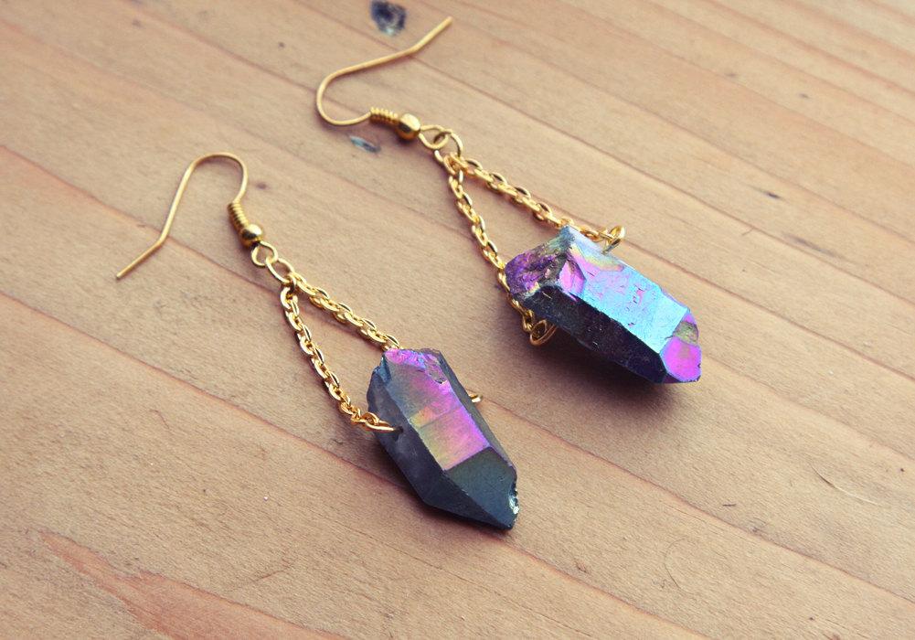 02 Rough Rainbow Aura Quartz Point Crystal Earrings