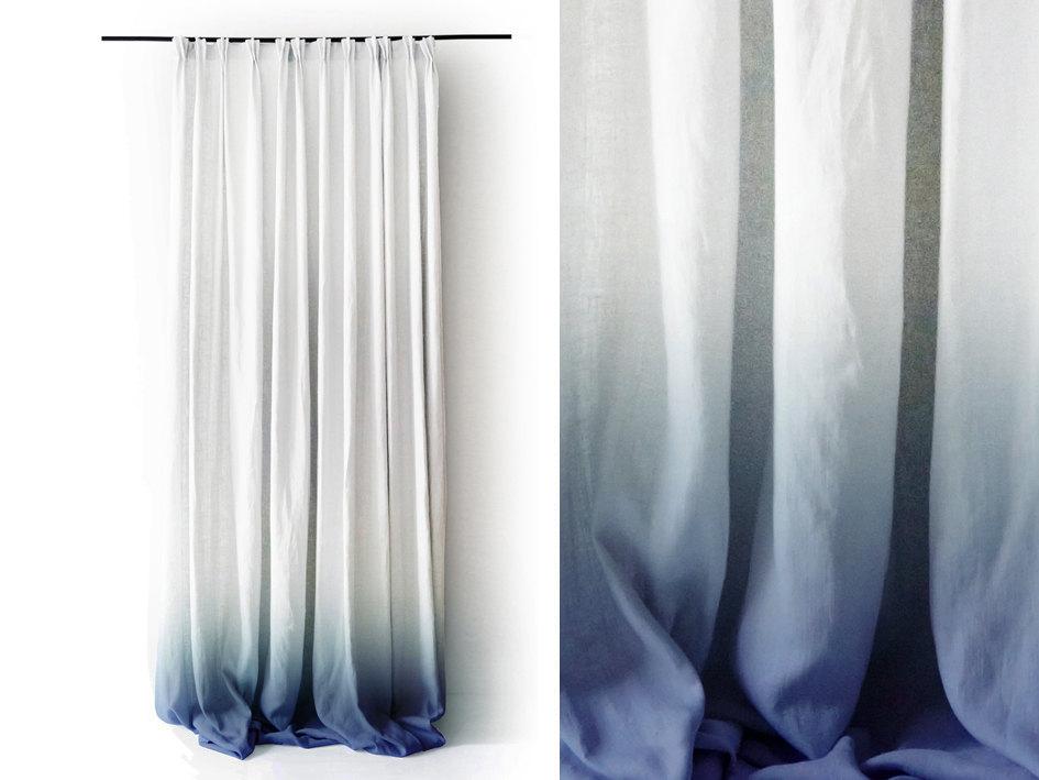 02 White Linen curtain Ombre Blue