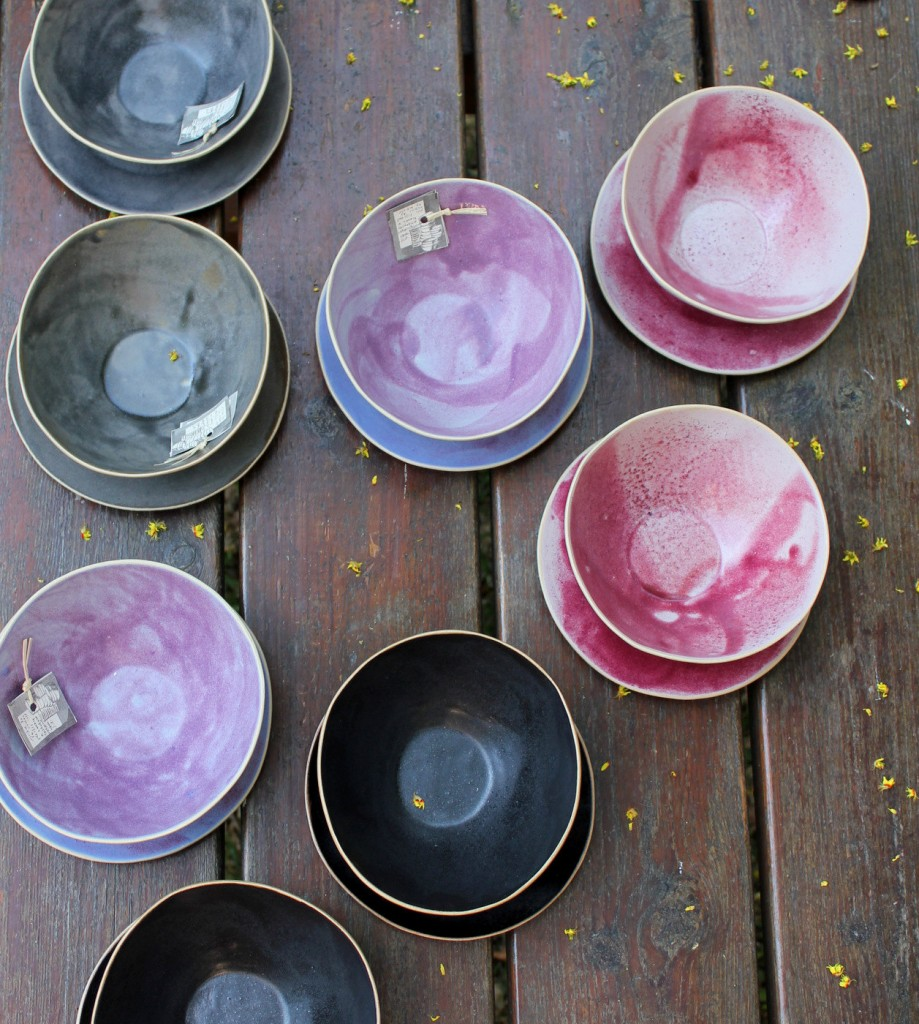 03 black, grey, pink and purple bowls