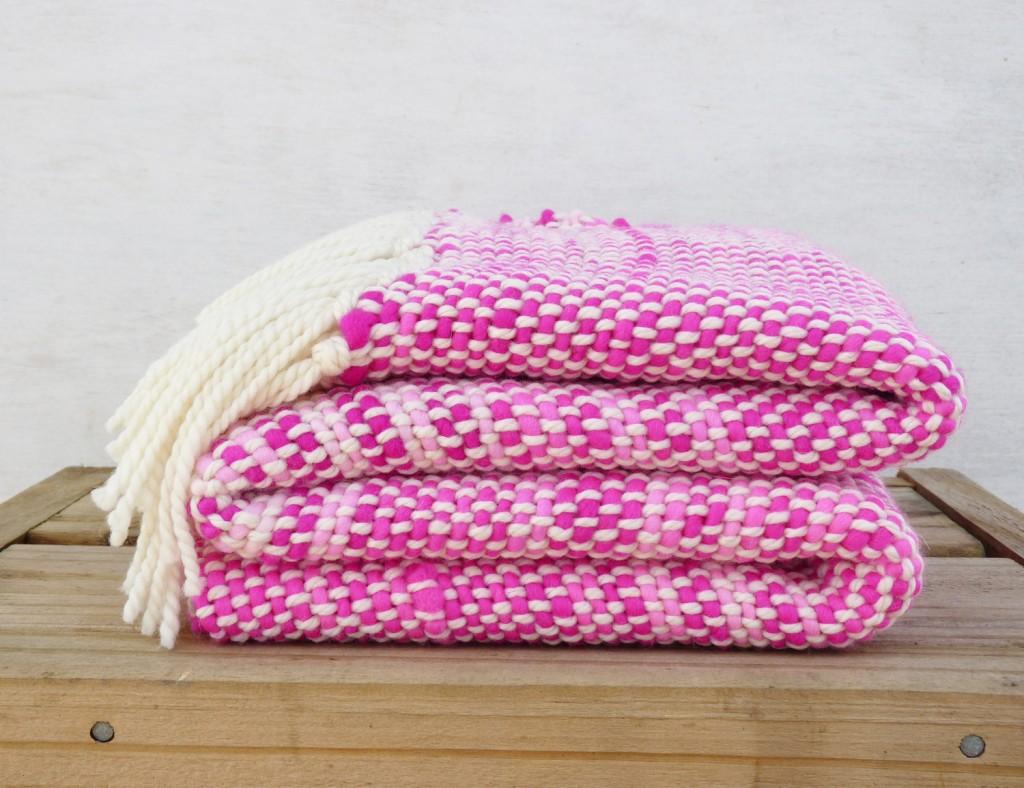 04 Neon Pink handwoven wool wrap