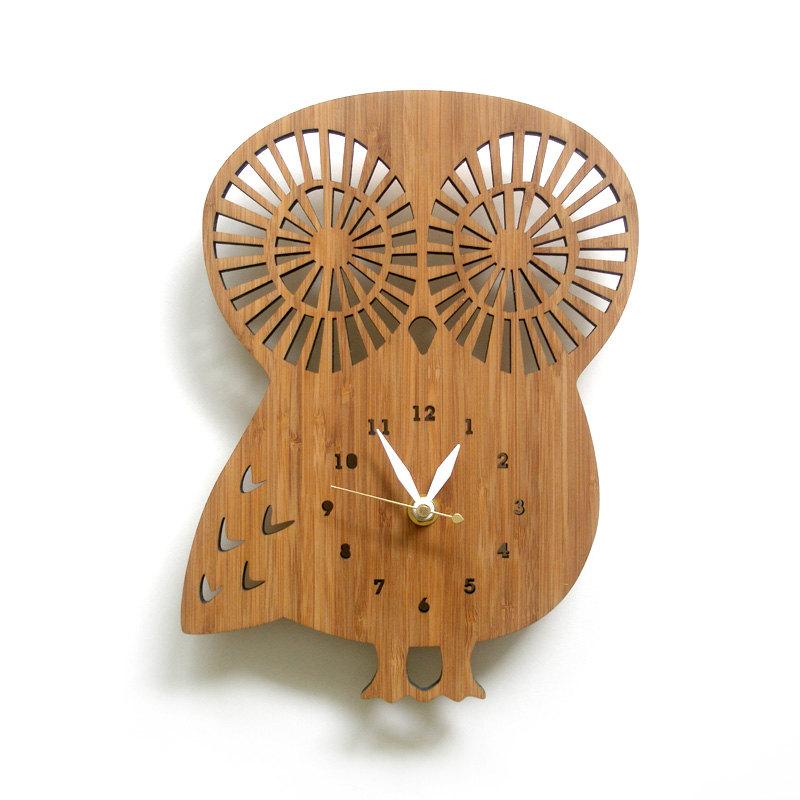 04 Wooden Owl clock