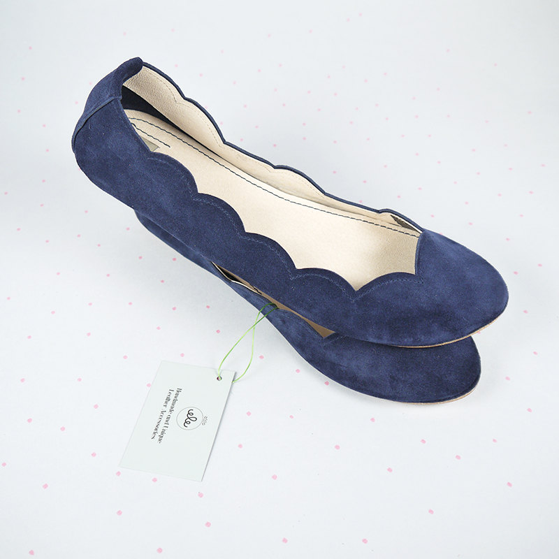 05 Suede Scalloped Handmade Ballet Flats