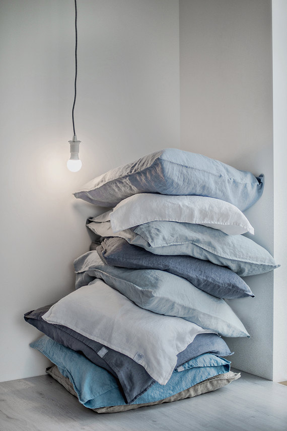 2 Set Of 2 Bluish Grey Linen Pillowcase