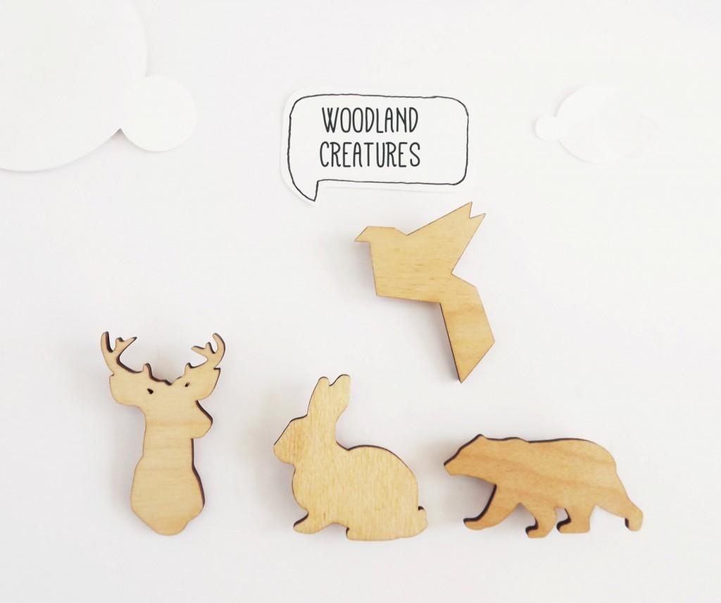 01 Animal Brooch Plain Wooden Pin