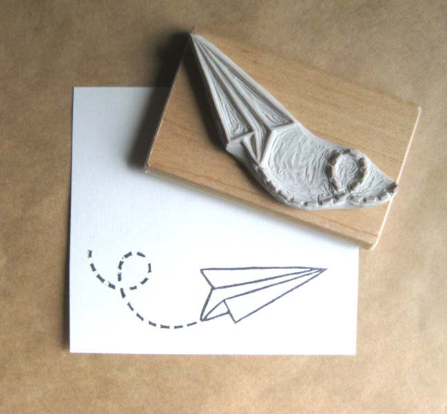 02 Paper Plane Air Mail Hand Carved Stamp