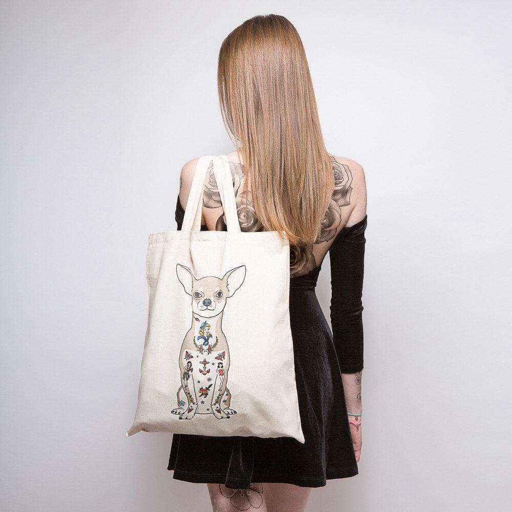 02 Tattoo Chihuahua Printed Tote Bag