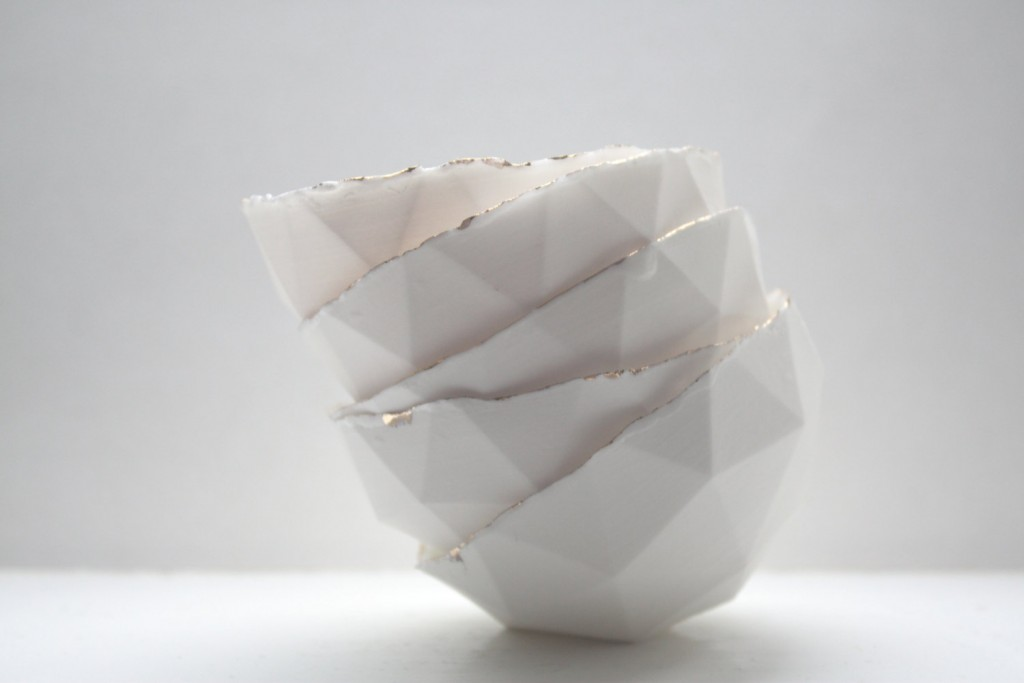 05 Small geometric faceted polyhedron white bowl