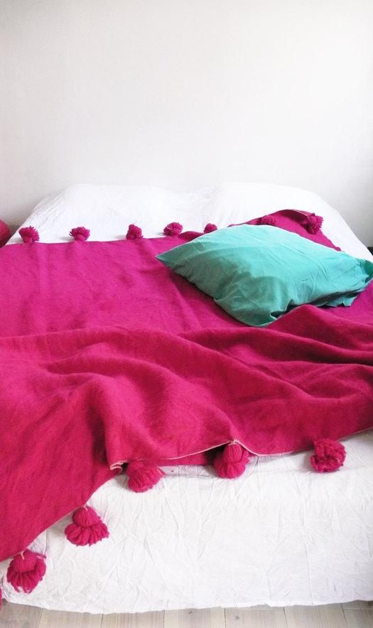 1 Moroccan POM POM Wool Blanket