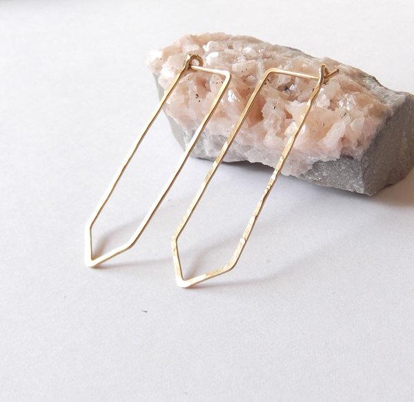 1 hammered gold filled quartz hoop earrings
