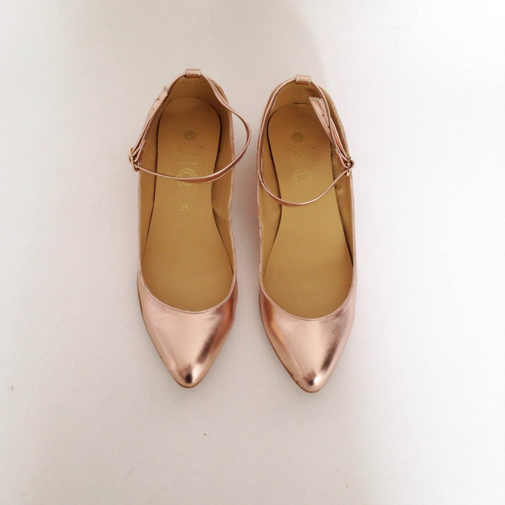 3 Mia ankle strap pointed flats