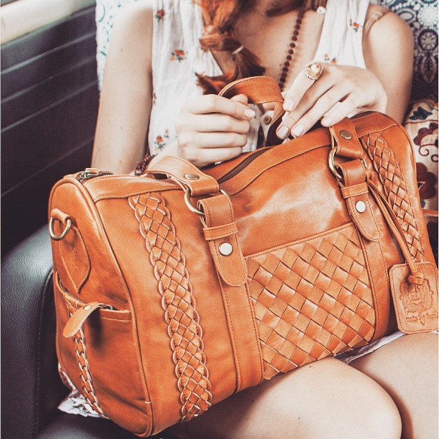 1 Tan leather bag