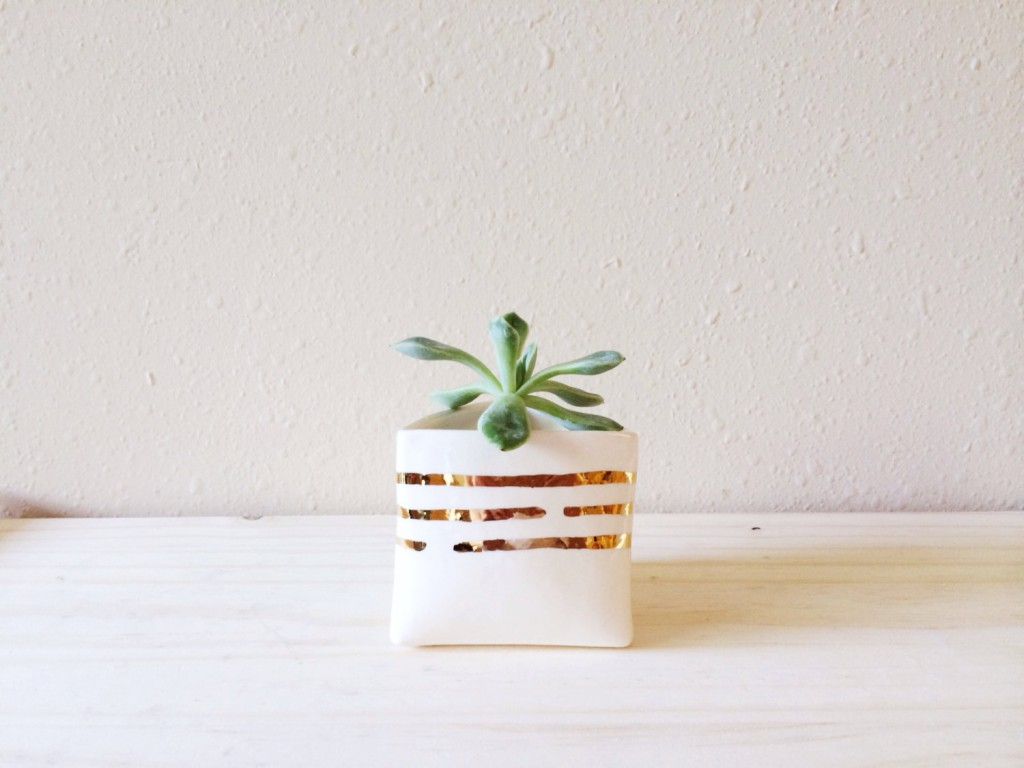 1 Triangle Planter with Gold