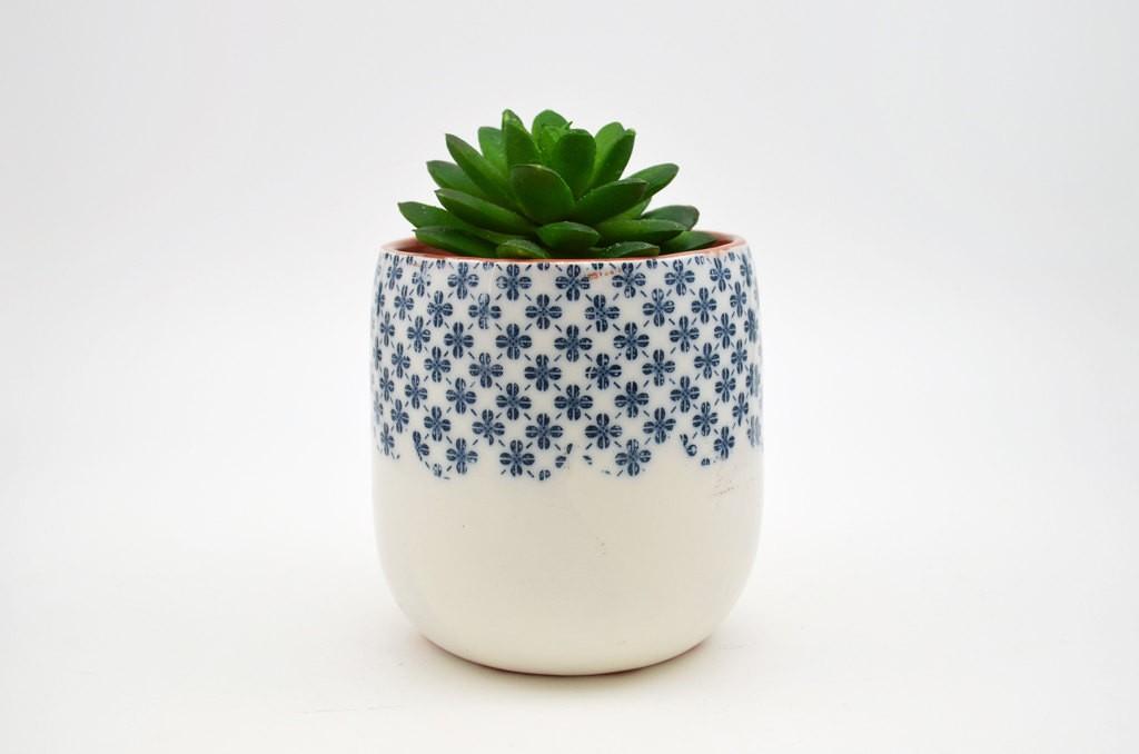 2 Patterned Pottery Planter