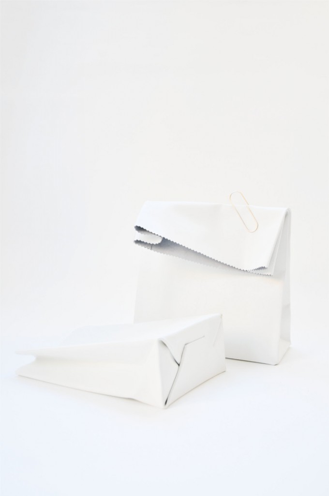 3 White leather paperbag