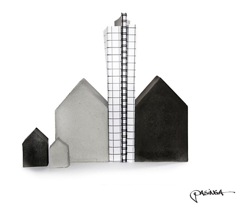 4 Quirky Houses Concrete Bookend Set