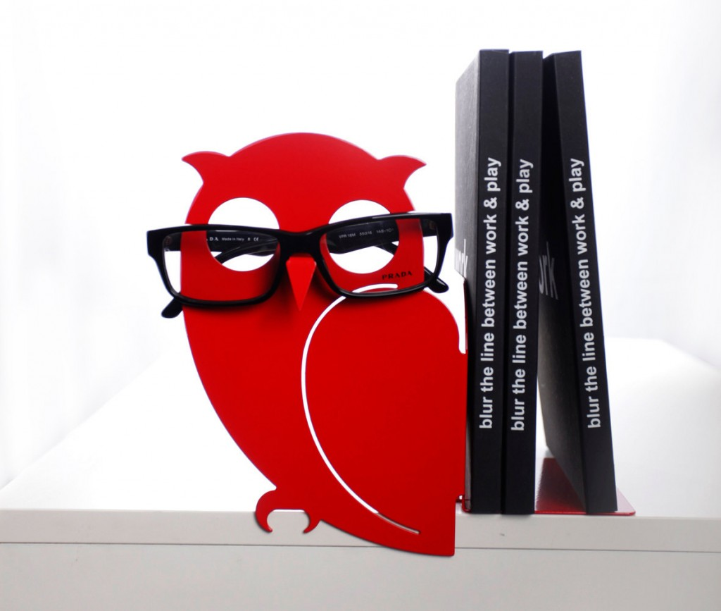 5 Red Owl Bookend and Eyglasses Holder