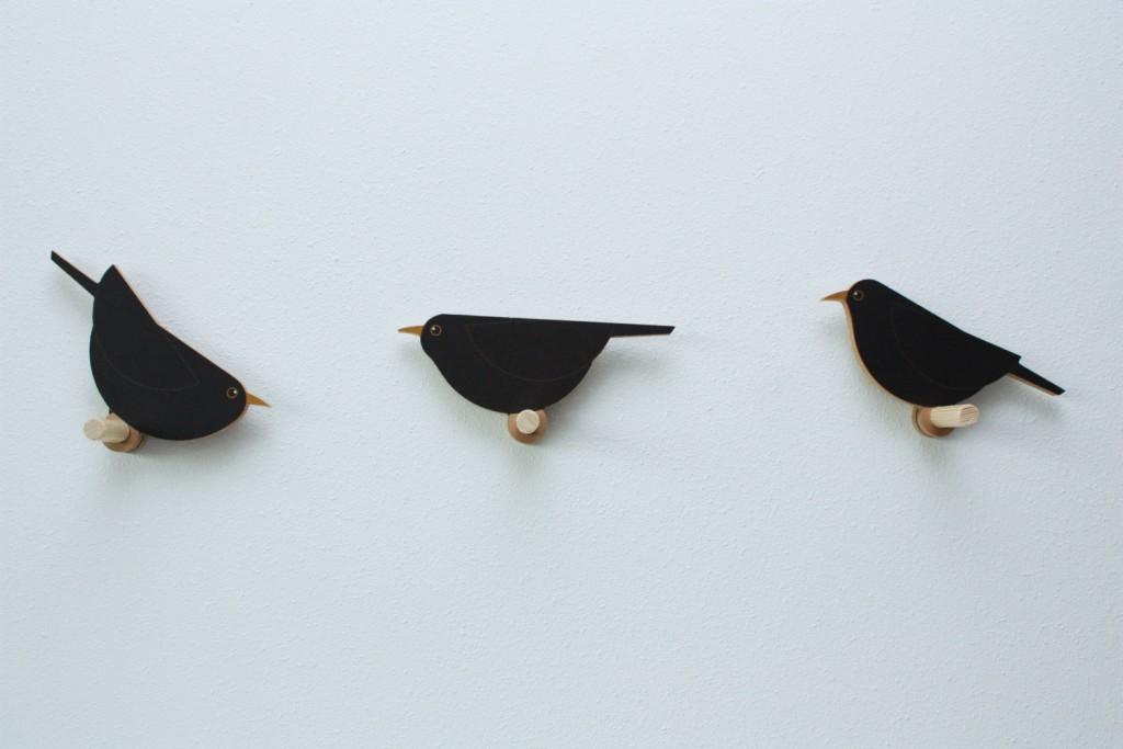 5 Set of 3 Blackbird coathangers