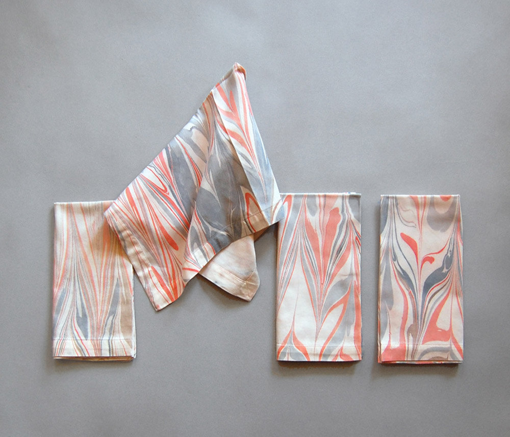 3 Set of Four Marbled Cotton Dinner Napkins