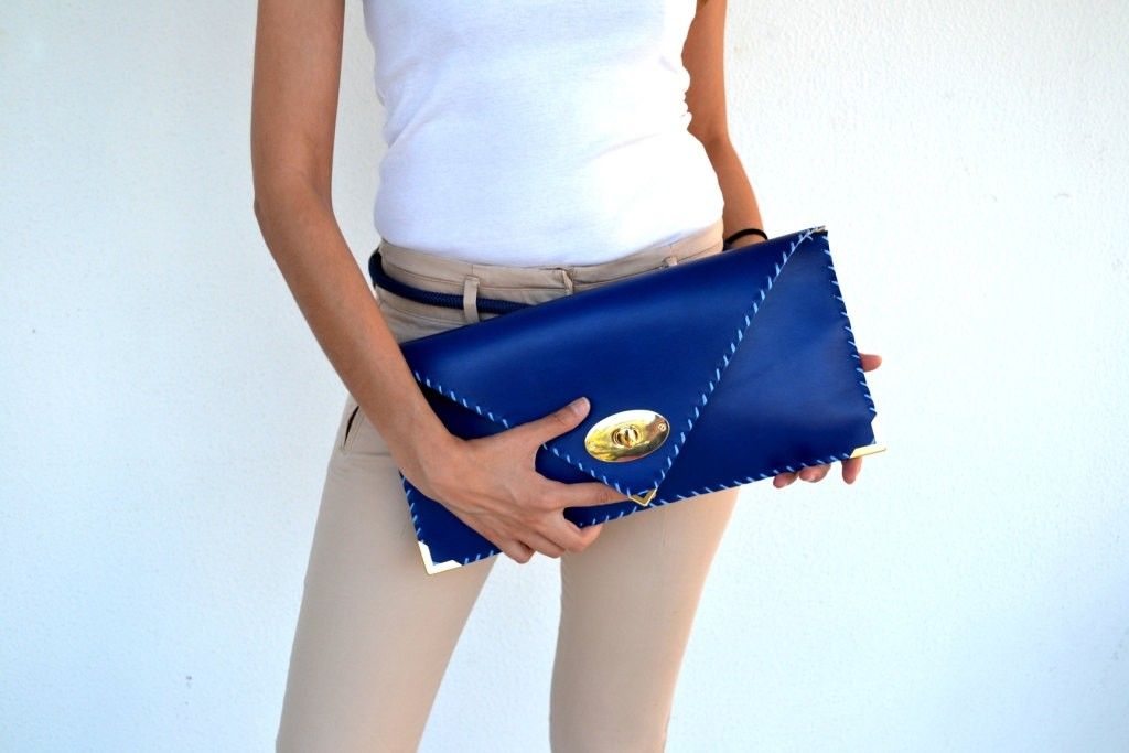 3 Blue leather clutch