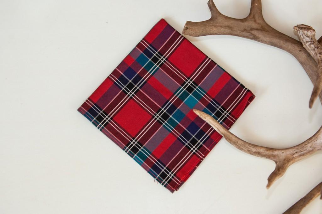 4 Red Plaid Pocket Square