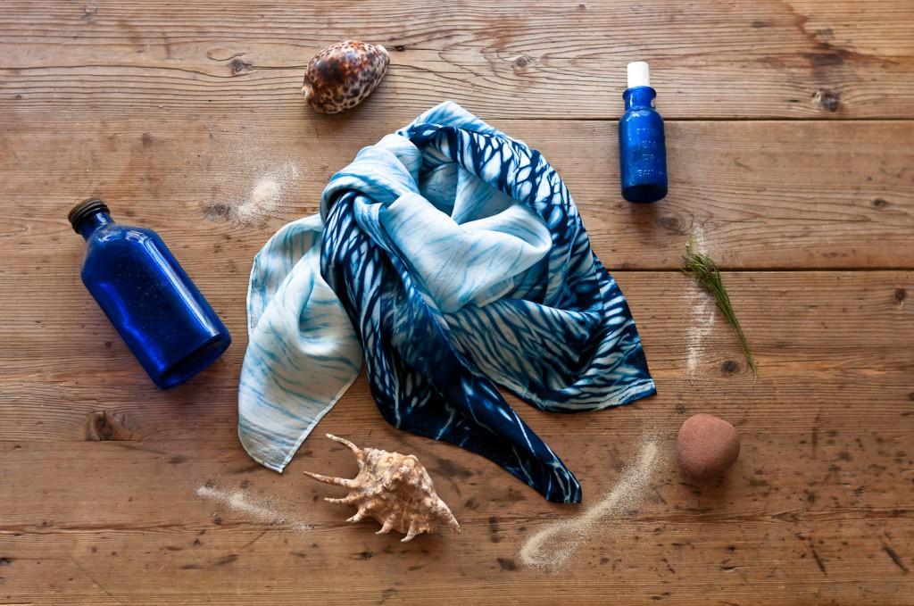 5 Indigo Shibori Arashi Silk Scarf