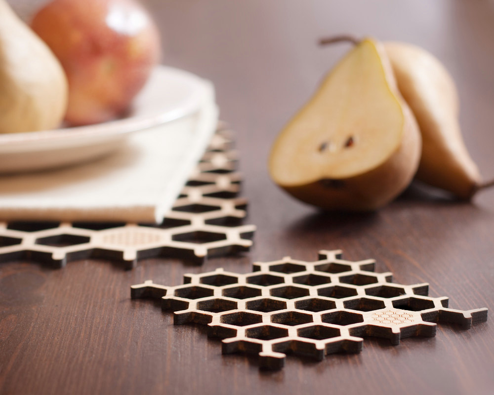 1 Bamboo Honeycomb Coasters