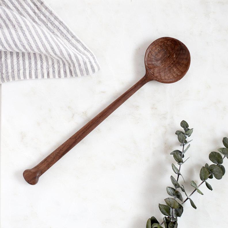 2 Hand Carved Walnut Wood Spoon