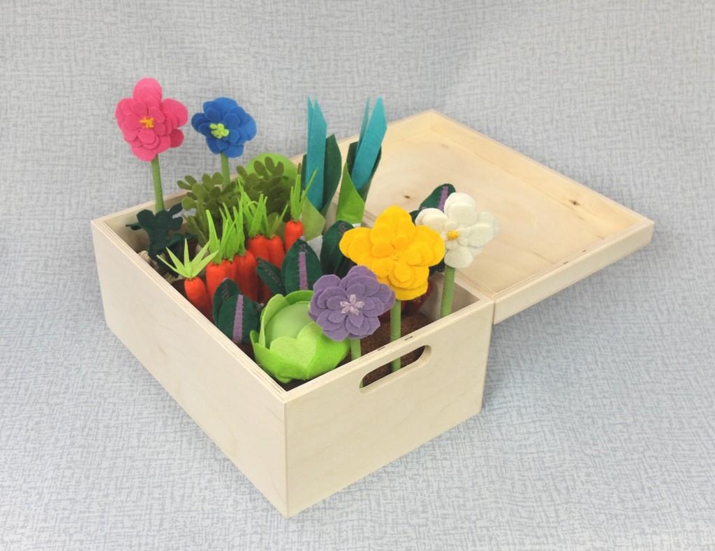 3 Felt Fabric Vegetable Garden Play Set
