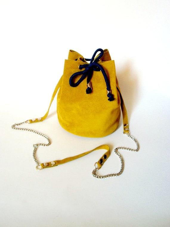 3 Mustard yellow bucket bag