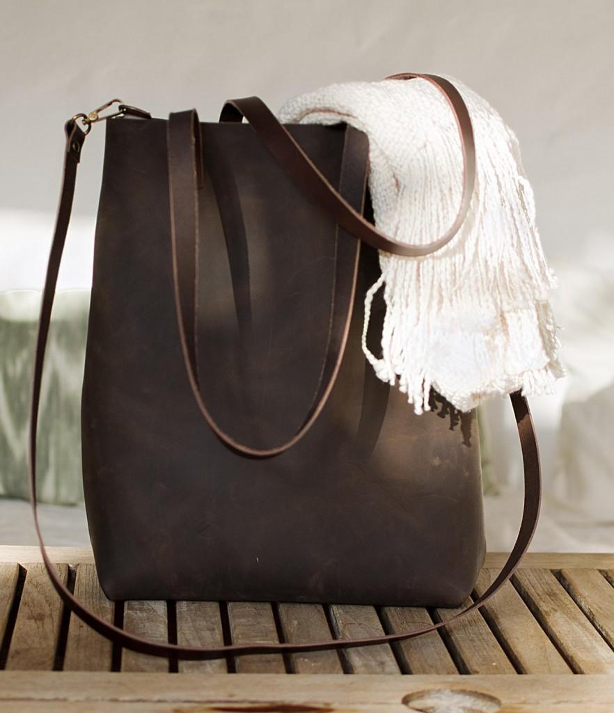 5 Dark Brown Distressed Leather bag