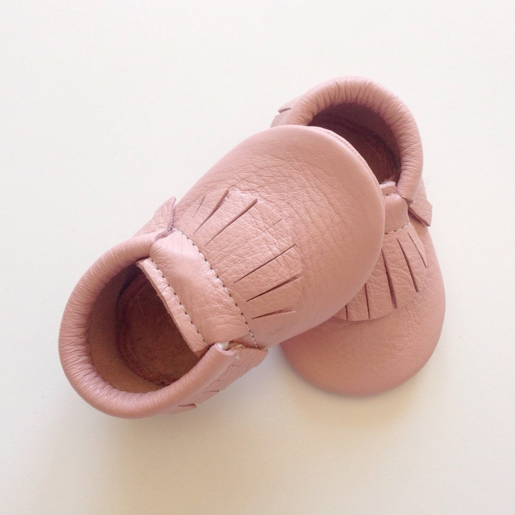 3 Dusty Rose Leather Baby Moccasins
