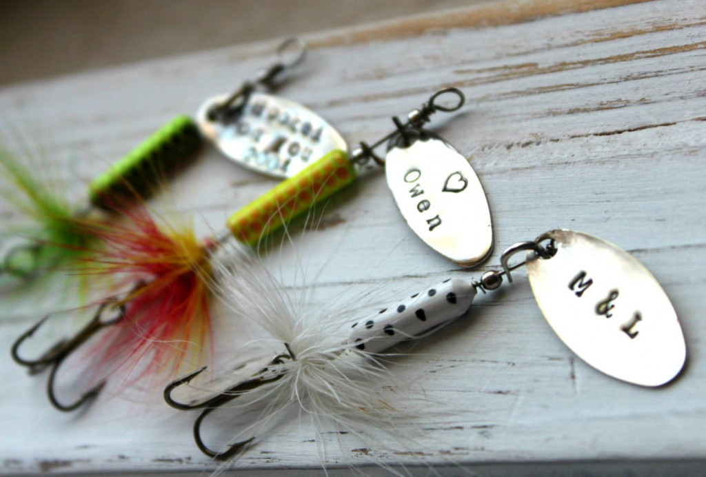 5 Personalized Handstamped Fishing Lure hook