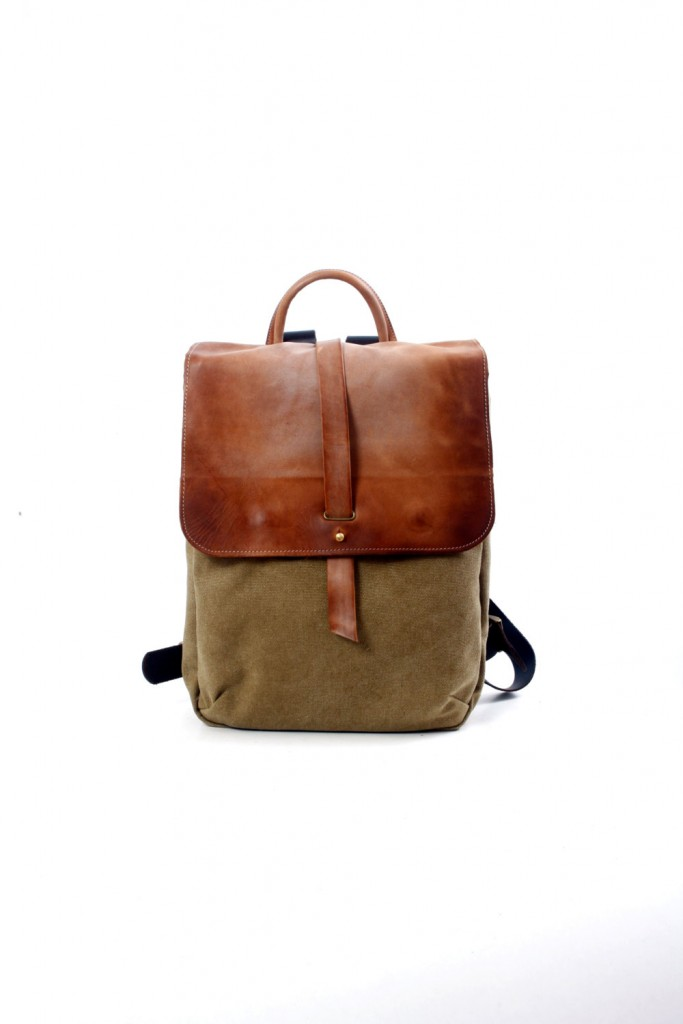 2 13 Faded Leather and Canvas Laptop Backpack