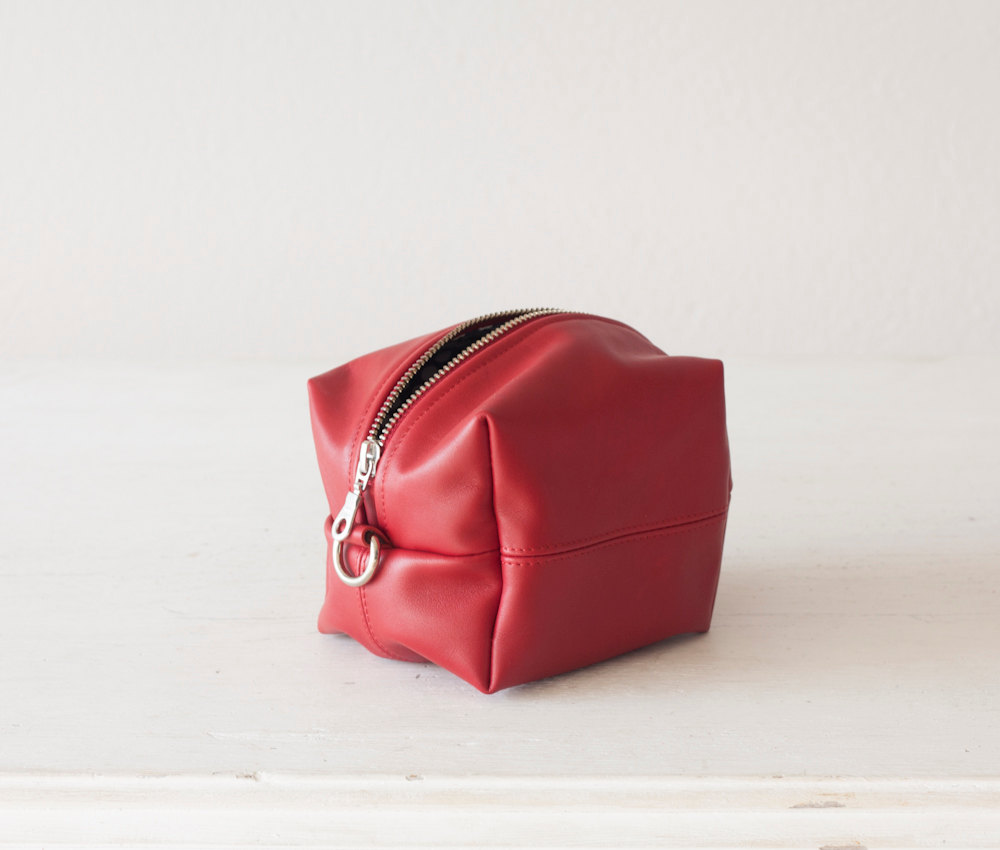 3 Red leather makeup bag