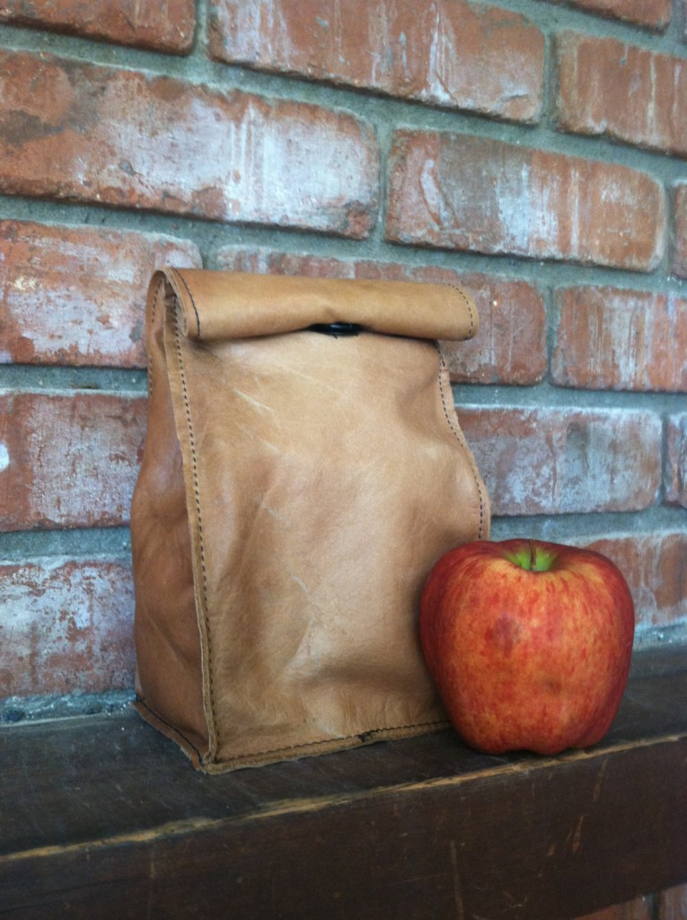 3 Leather Lunch Sack Lunch Bag