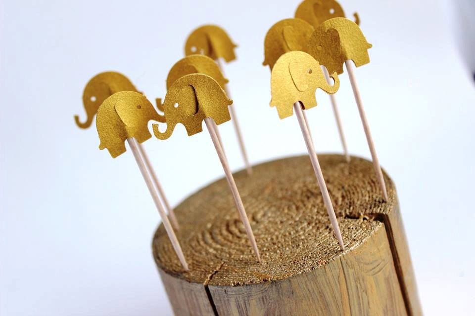 5 Gold Elephant Cupcake Toppers