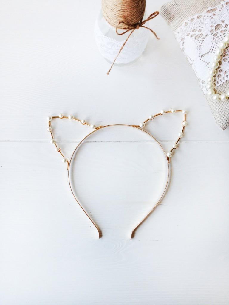 2 Gold or Silver Pearl Cat Ears Headband