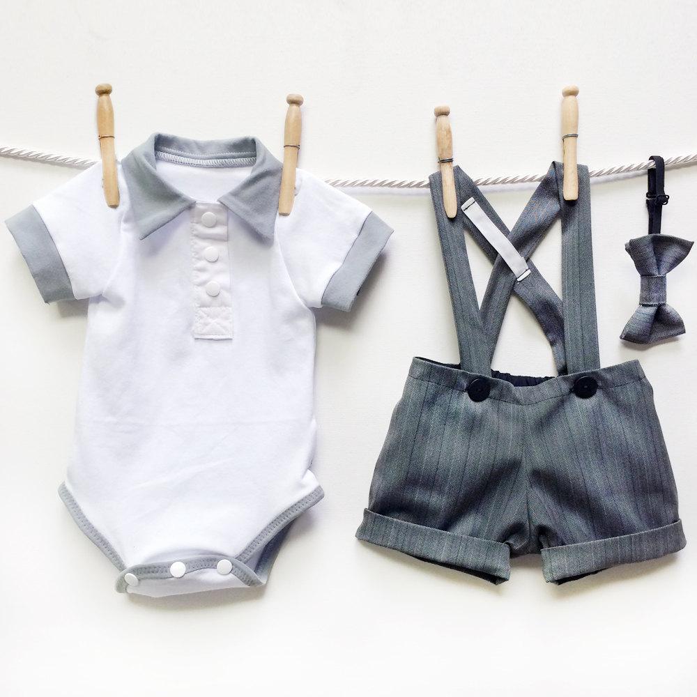 4 3 Piece Boys Gray Suit Set