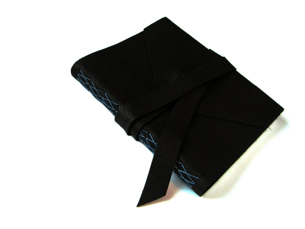 4 Black Leather Journal with Double Wrap Tie