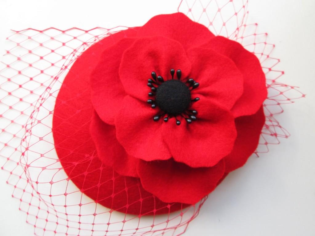 4 Poppy Red Felt Hat